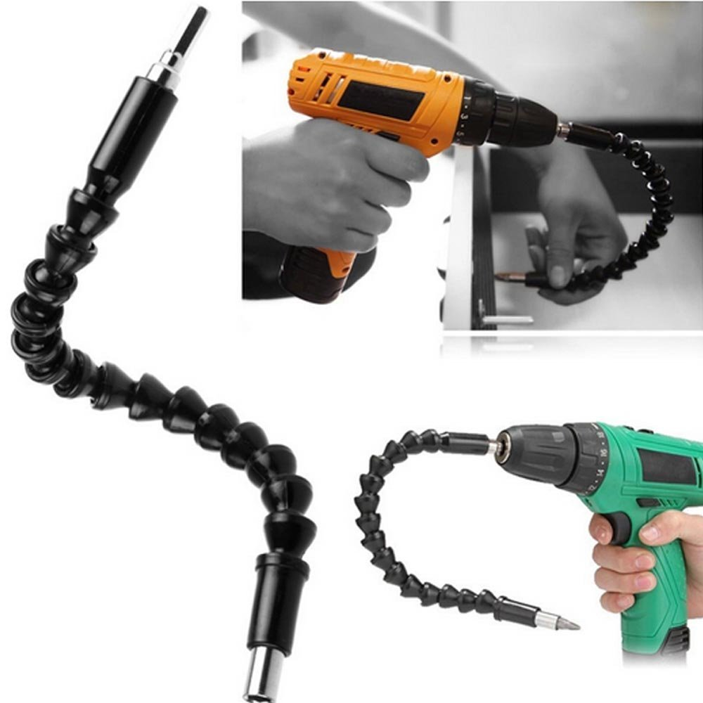1//4 Flexible Hex Shaft Screwdriver Power Drill Bit Extension 105 Degrees Corner Device Flexible Extension Bar Electric Screwdriver Fittings 3PCS Screwed Joint