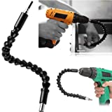 "1/4"" Flexible Hex Shaft Screwdriver Power Drill Bit Extension 105 Degrees Corner Device + Screwed Joint + Flexible Extension Bar Electric Screwdriver Fittings 3PCS"