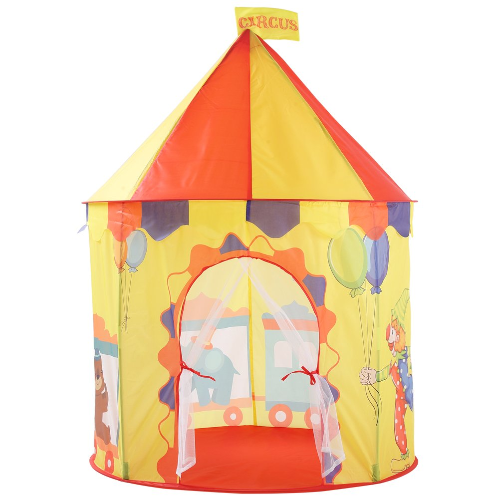 Ousaier Kids Play Tent, Boys & Girls Pop up Game Teepees | Funny Family Activities Expert | 2-3 Children's Large Castle Playhouse - Portable Indoor/Outdoor Design with Carry Bag