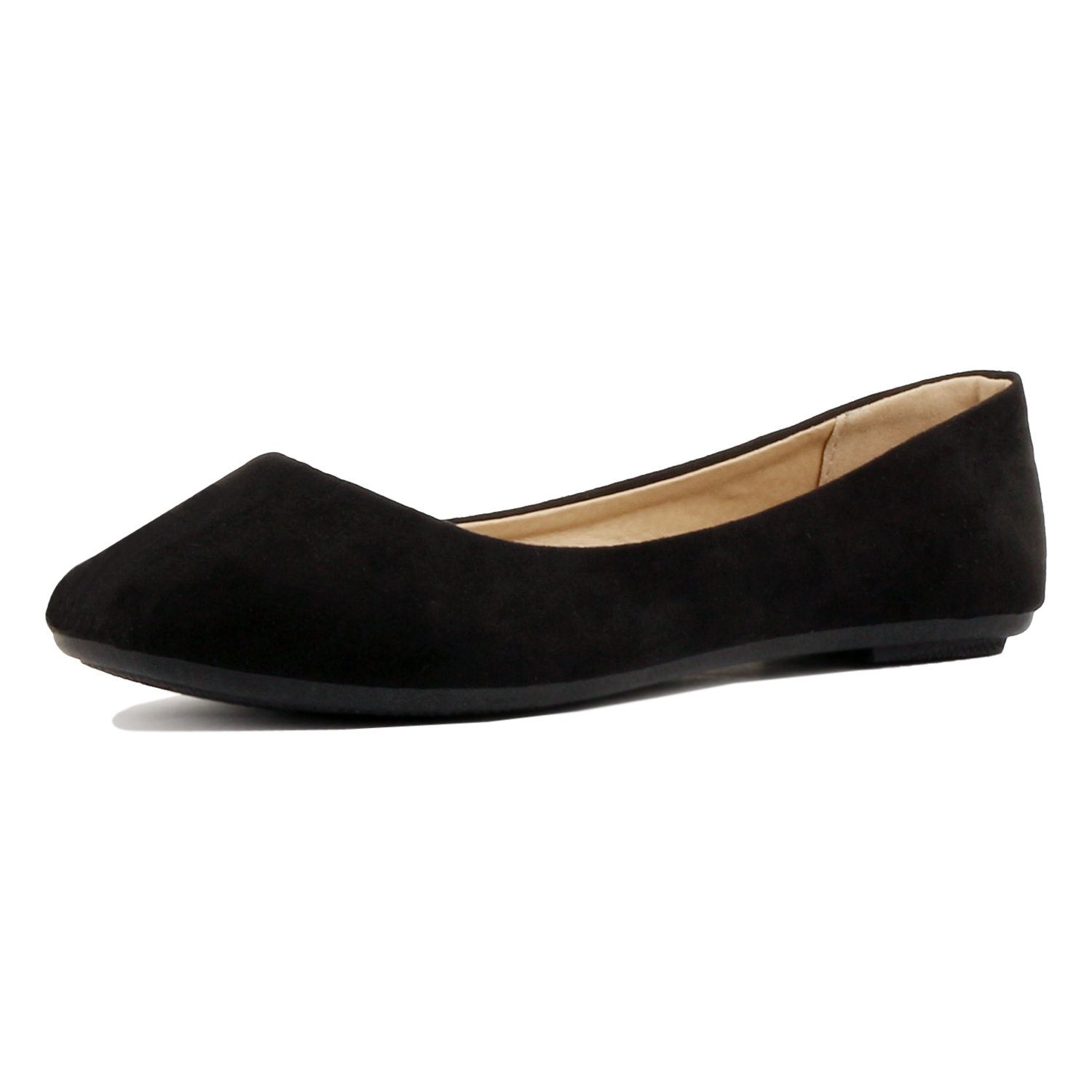 Womens Pointy Toe Slip On Classic Ballet Flat Flats-Shoes, 01 Black Suede, 9