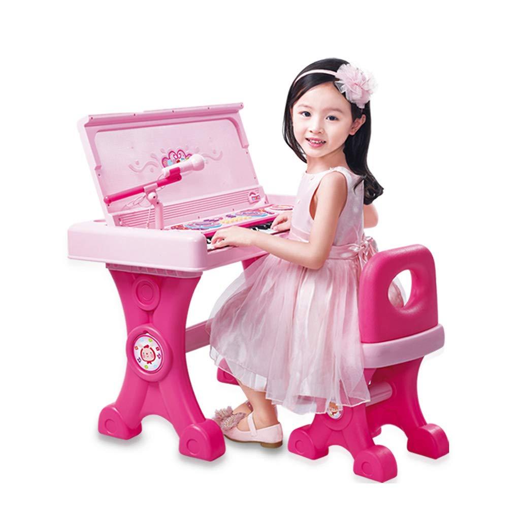 LIPENG-TOY Kindertastatur Mädchen Klavier Spielzeug Mikrofon Baby Multifunktionsmusik Klavier Anfänger 1-3-6 Jahre alt (Farbe   Rosa, Stil   C) Rosa C