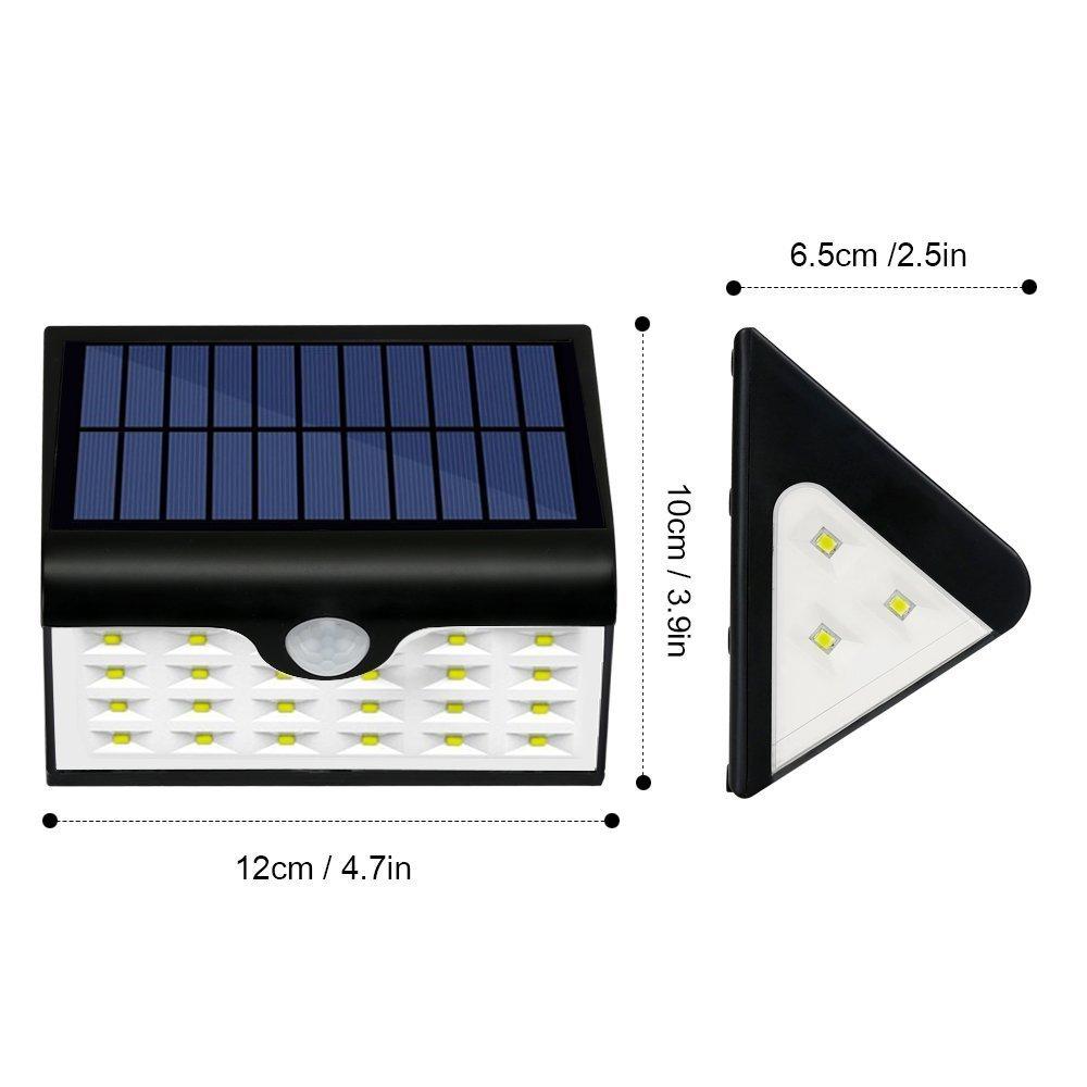 Foco Solar Exterior Luz de Solar LED con 28 LED, 300 Lúmenes, Funciona de 8-10 Horas,Lámparas Solares con Sensor de Movimiento & Gran Angular de Iluminación ...