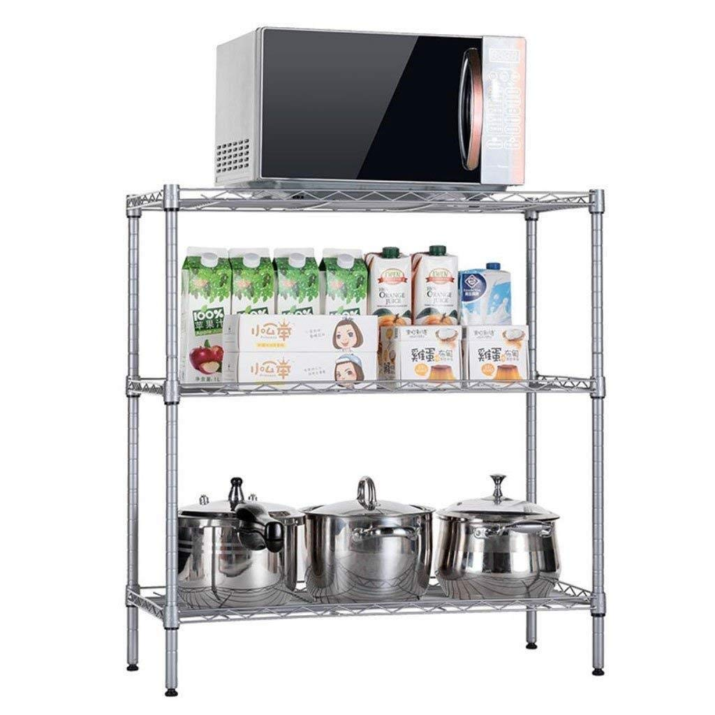 Kitchen Shelf Multi-Layer Microwave Oven Shelf Storage Storage Pot Rack Stainless Steel Floor-Standing Three-Layer Oven Shelf 59cmx34cmx80cm