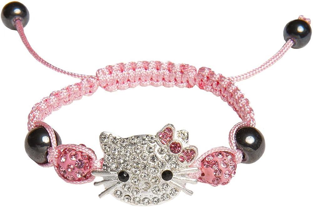 Kiss Me!Pulsera trenzada para niña en color rosa con diseño de Hello Kitty y piedras brillantes, ajustable