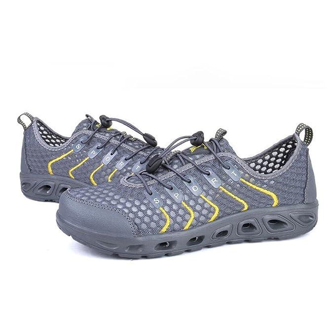 Chaussures De Randonnée en Maille Unisexe Marche Chaussures D'eau en Plein Air Adulte Rivière Chaussures à L'extérieur Patauger à Faible Respirant à Séchage Rapide,Gray-42