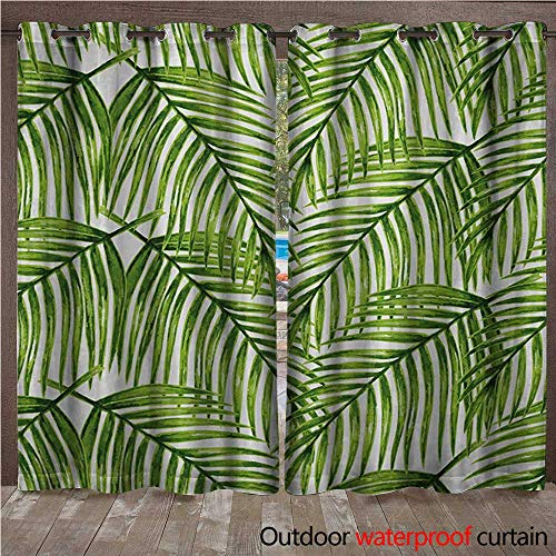 (WilliamsDecor Plant Outdoor Curtain for Patio Fascinating Leaves on Branches Exotic Setting Floral Arrangement Jungle Themed Greens W84 x L84(214cm x)