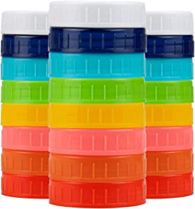 Tebery 24 Pack Plastic REGULAR Mouth Mason Jar Lids with Silicone Rings Food Grade Colored Storage Caps for Mason/Canning Jars