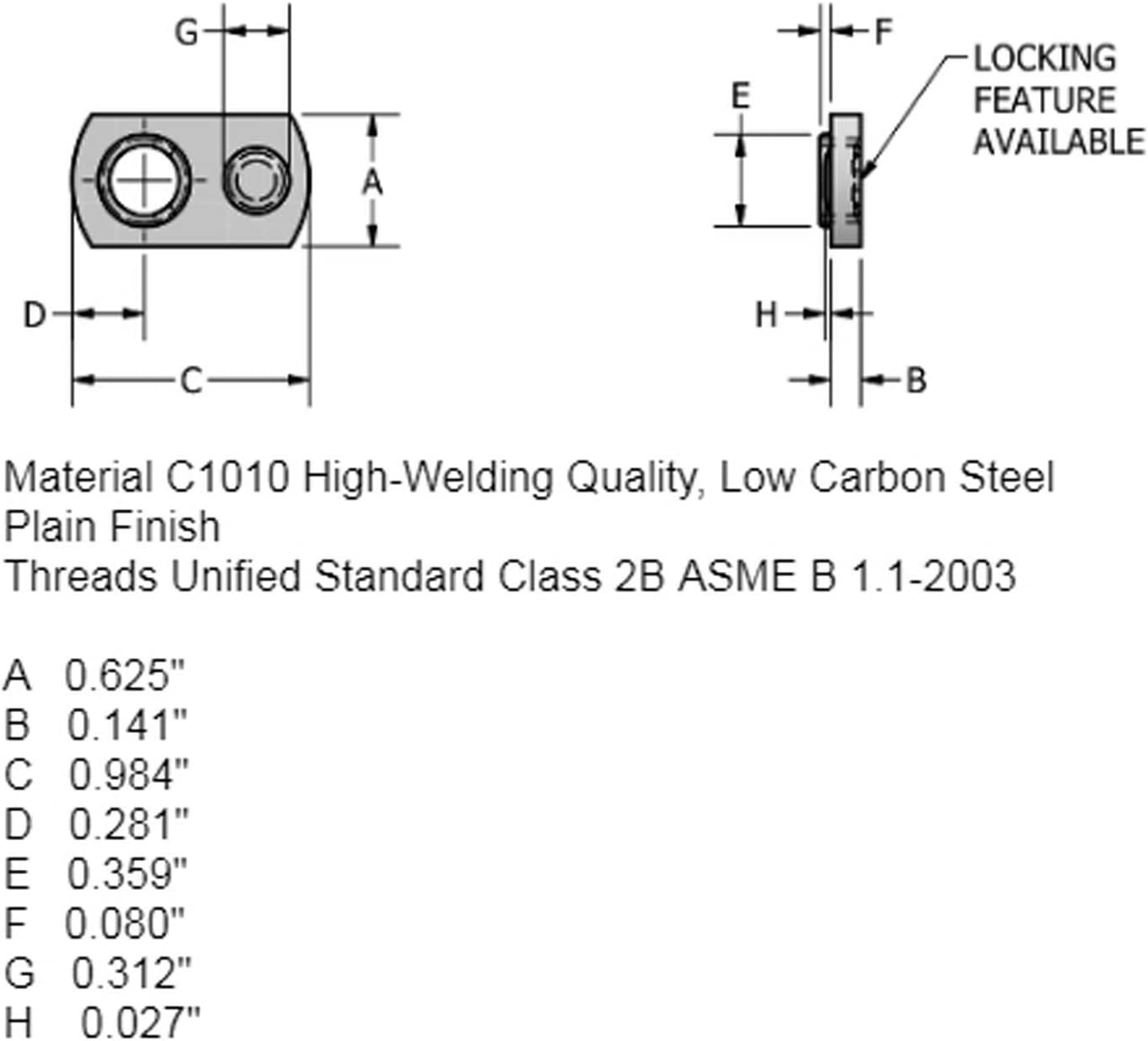 Weld Nuts//Spot//Offset Hole 20 Spot Weld Nuts 5//16-18 Single Tab Weld Nut with Target Low Carbon Plain Steel