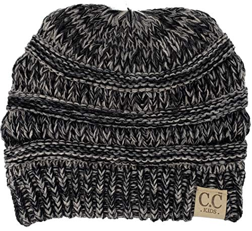 (H-3847-816.06 Kids Beanie (NO POM) - Grey/Black #31 )