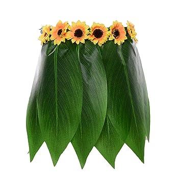 LUOEM Falda de Hoja de Hula Hawaiana Falda de Hierba Verde con ...