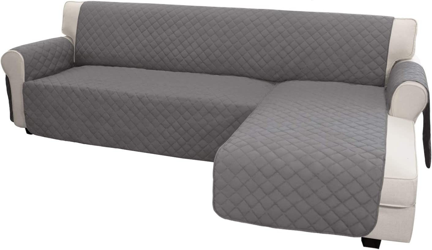 Easy-Going Sofa Slipcover L Shape Sofa Cover Sectional Couch Cover Chaise Lounge Slip Cover Reversible Sofa Cover Furniture Protector Cover for Pets Kids Children Dog Cat(Large,Gray/Gray)