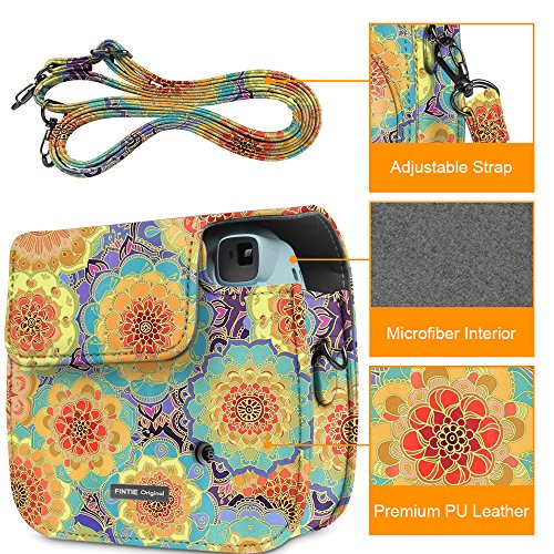 Fintie Protective Case for Fujifilm Instax Mini 8 Mini 8+ Mini 9 Instant Camera - Premium Vegan Leather Bag Cover with Removable Strap, Summer Dahlia (Official Micklyn Le Feuvre Product)