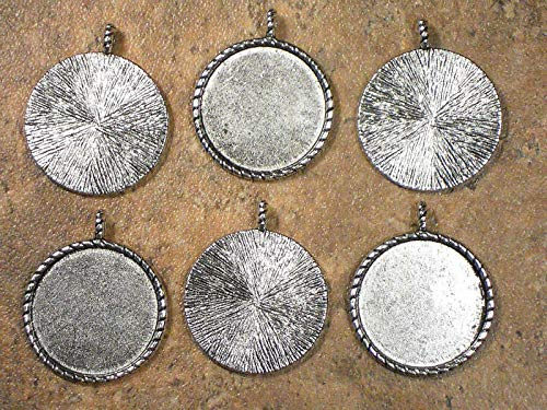(Lot 6 Round Bezel Pendants Antiqued Tibetan Silver Tone Mountings Trays Vintage Crafting Pendant Jewelry Making Supplies - DIY Necklace Bracelet Accessories CharmingSS)