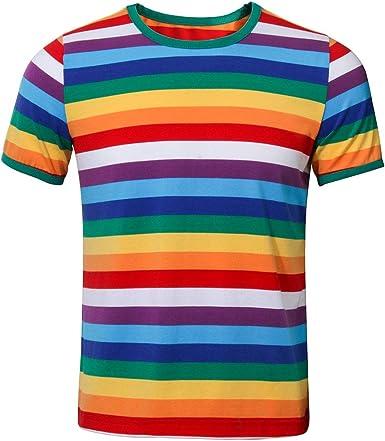NUWIND - Camiseta Arcoiris de Manga Corta con Rayas Cuello Redondo T Shirt para Hombre (XS): Amazon.es: Ropa y accesorios