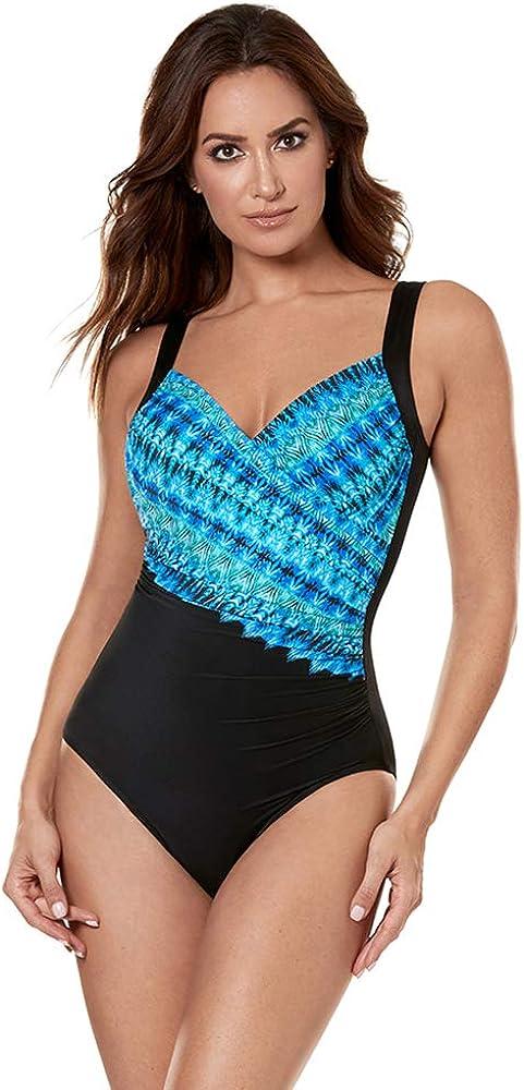 Miraclesuit Women's Swimwear Cabana Chic Sanibel Tummy Control Sweetheart Neckline Underwire Bra One Piece Swimsuit