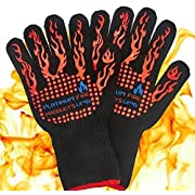 Amazon Lightning Deal 92% claimed: Platinum UMD® 932F Oven and BBQ Mitts Cut Heat Resistant Gloves,Chef Supplies Accessories,100% Cotton Lining, Stripes for Ultimate Grip, Perfect for Kitchen, Baking, Grilling, Barbecue EN407 Certified