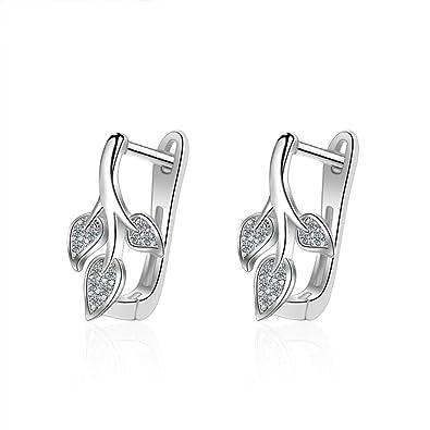 Boutique en ligne d3ae5 280ec Pendientes de clip para mujer, diseño de hojas de cristales ...