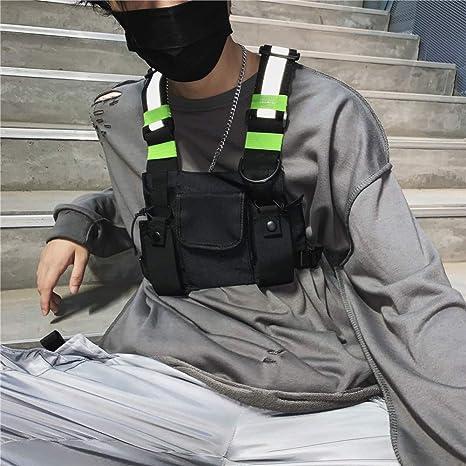 Men Women Reflective Tactical Vest Hip-Hop Chest Bag Harness Waist Pack Prop US