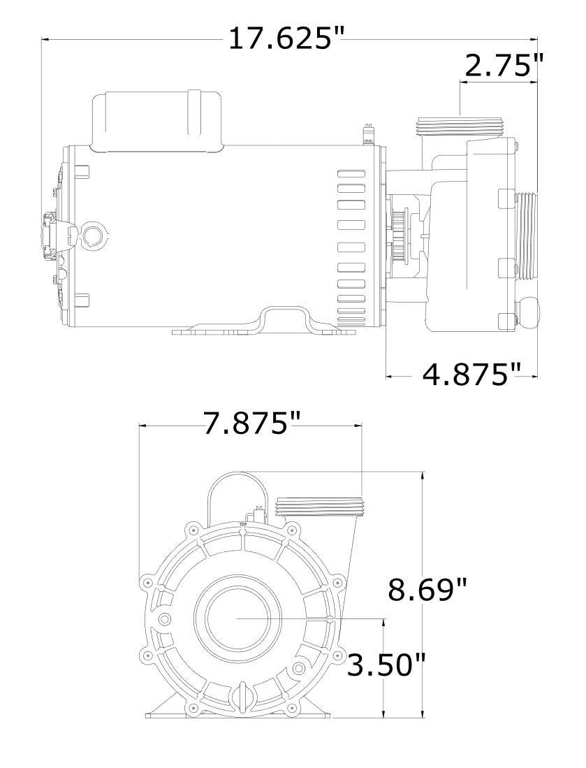 Gecko Pump, AquaFlo XP2e, 2.0ohp/3.0thp, 230v, 2-spd, 56fr, 2'', OEM #05320761-2040 by Gecko
