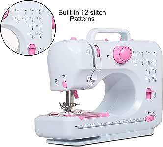 JAXPETY - Mini máquina de coser portátil para el hogar, 12 ...