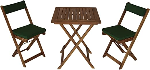Set 2 Sillas Plegables balcón mesa plegable 2 Set Funda Verde Madera de Acacia engrasada Certificado FSC 60 x 60 x 72 cm 39 x 51 x 82 cm nicos: Amazon.es: Hogar