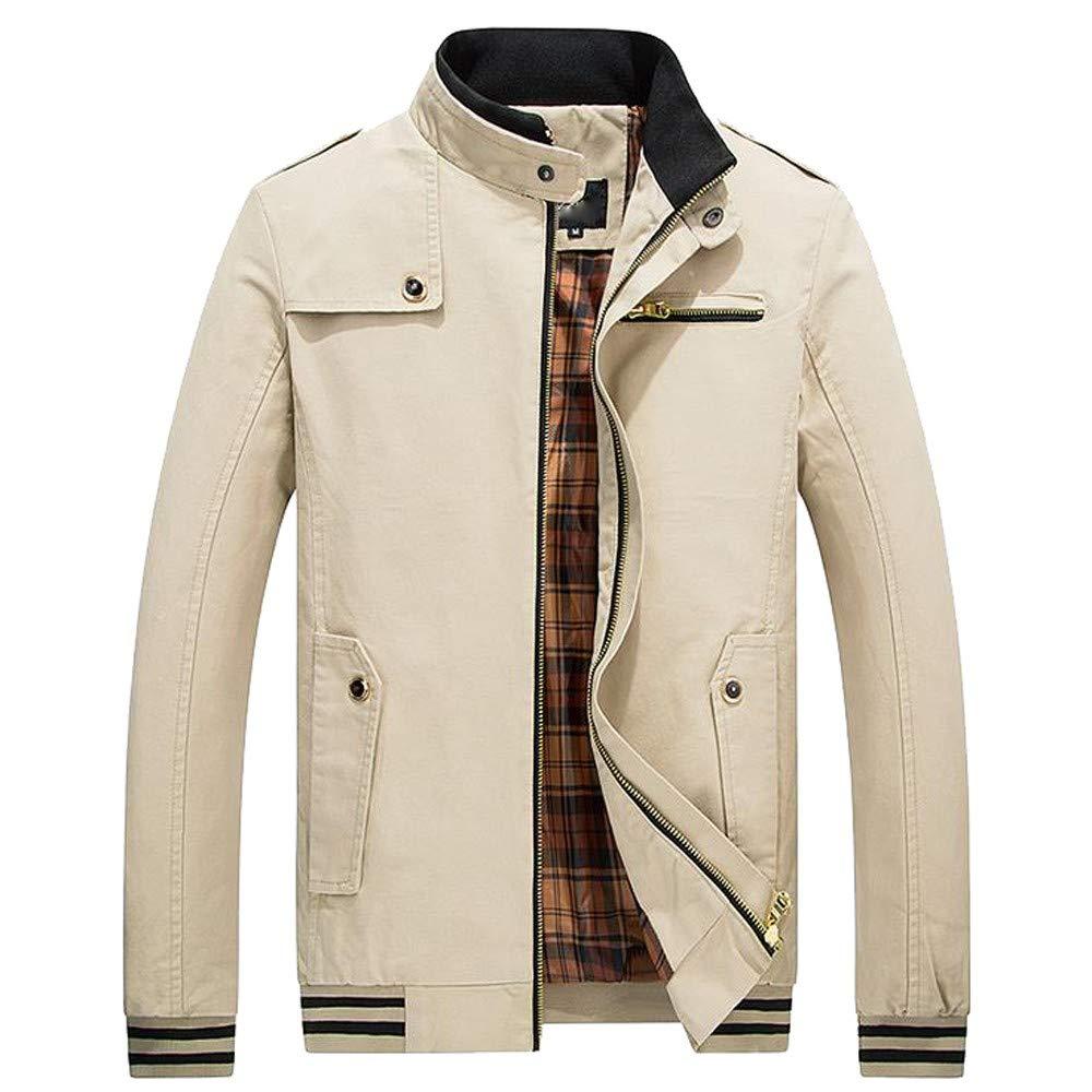 Pervobs Men Warm Jacket Overcoat Outwear Turtleneck Slim Long Trench Zipper Coat