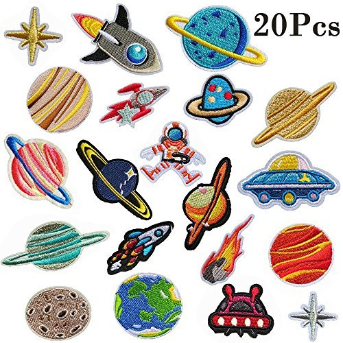 Muhuyi 20 Pcs DIY Sew Decoration Appliques Stickers Embroidery Patches Cloth Iron On Patches, Repair the Hole Stick Solar System