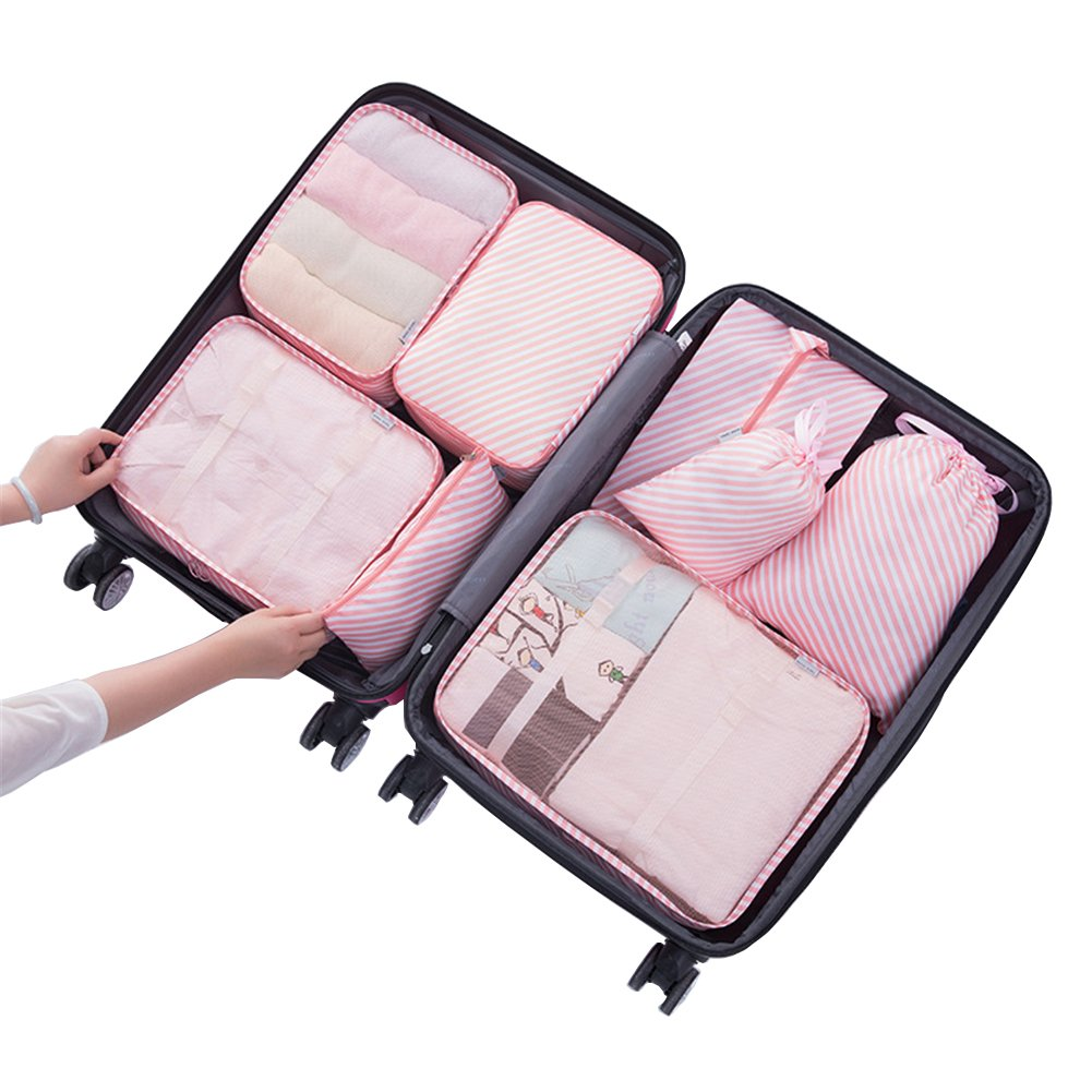 8Set Waterproof Clothes Storage Bags Packing Cubes Travel Luggage Organizer Cosmetic Pouch Shoes Bag