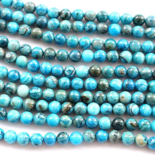 Natural Blue Crazy Lace Agate Round Gemstone Loose Beads for Bracelet - Stone Beads Blue