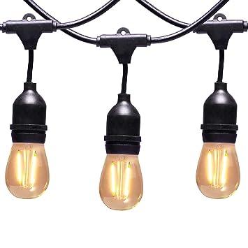 AVAWAY Guirnalda Luces Exterior LED, 15M Cadena de Luces IP65 Impermeable, 15 E27 Base