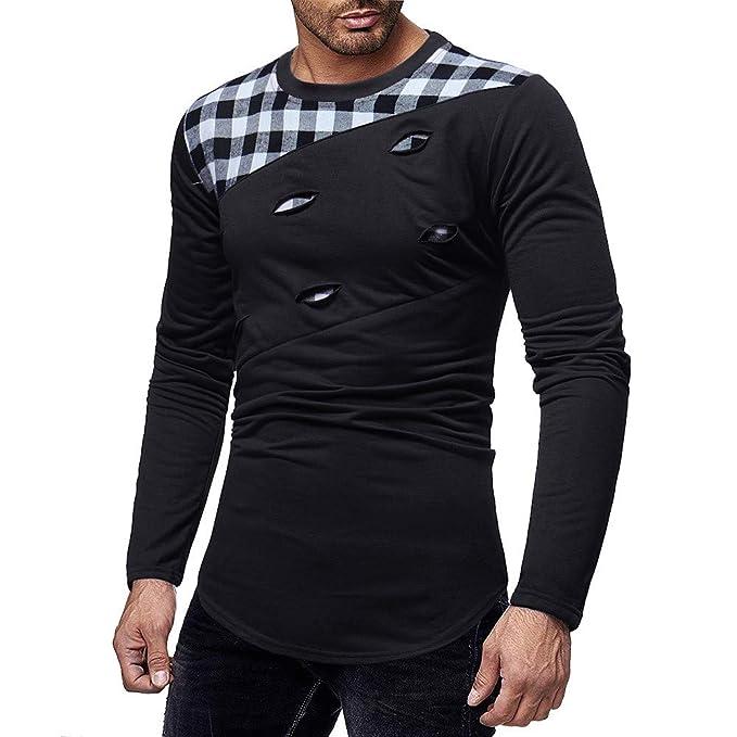 YanHoo Hombres Manga Larga rasguños Agujero Empalme Trajes Casuales Camisas Blusa Top Delgado rasguño Cosido Casual