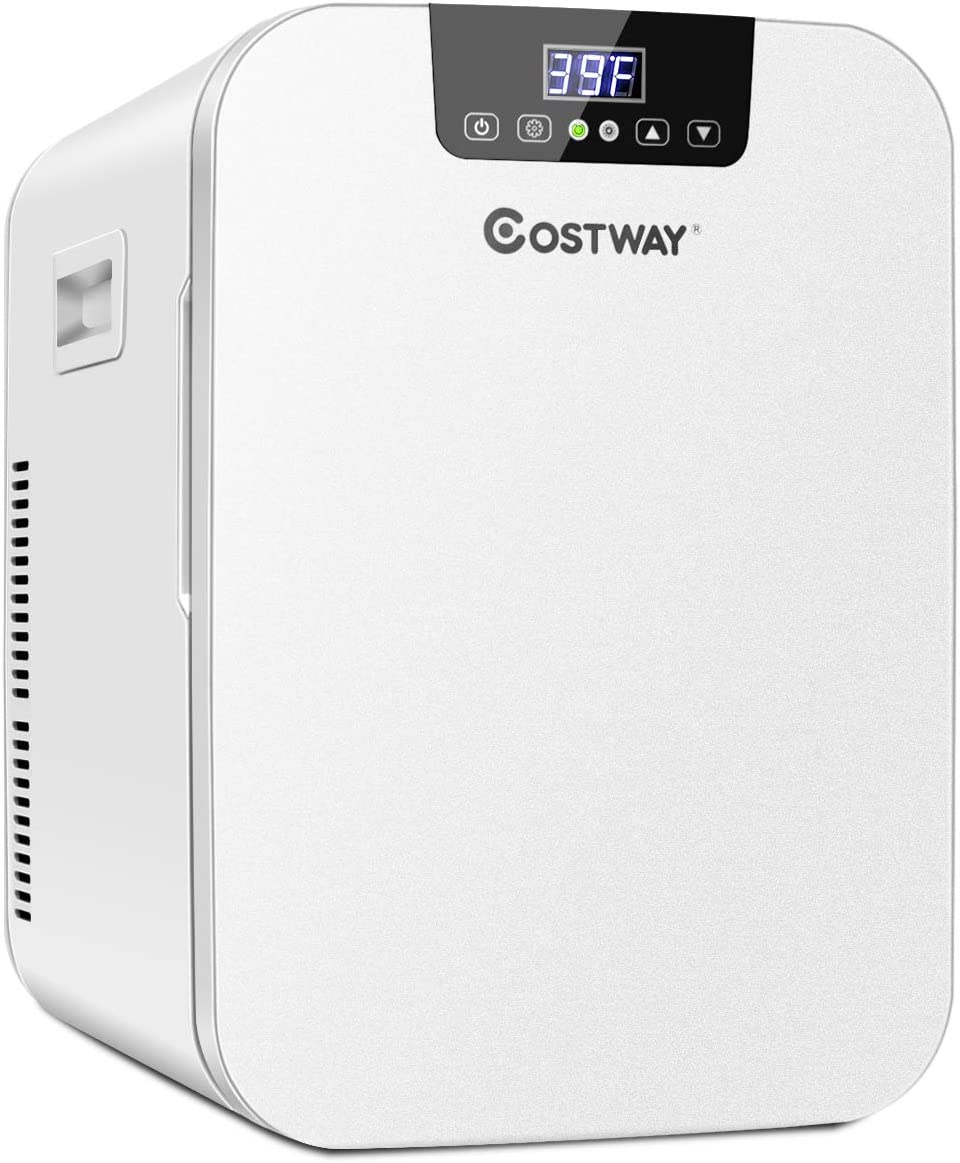 COSTWAY 20L Compact Mini Refrigerator, 16℉-149℉ Portable Cooler Warmer Fridge with Digital Temperature Control for Cosmetics, Makeup, Single Door Skincare Fridge for Car, Home, Office, Dorm(White)