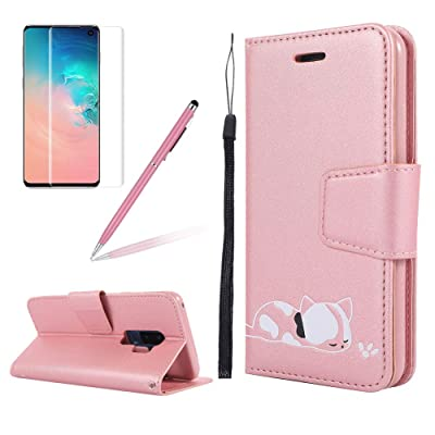 Strap Leather Case for Samsung S9 Plus,Folio Flip Wallet Case for Samsung S9 Plus [Pink Solid Color],Girlyard Stylish Cute 3D Embossed Cat Pattern with Card Slots Magnetic Fold Stand Phone Cover: Electronics