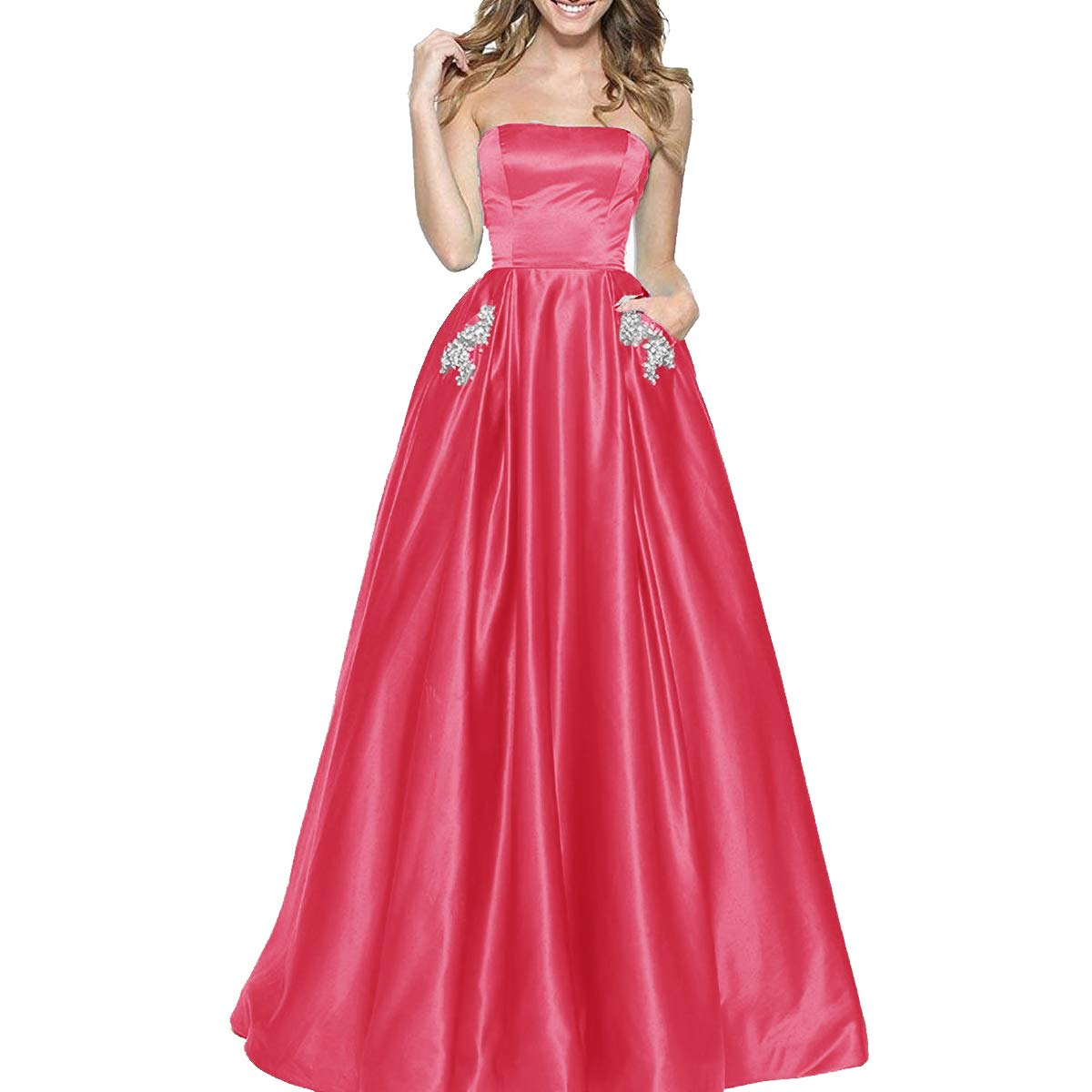 Watermelon TTYbridal Women's ALine Strapless Beaded Prom Dresses Long Satin Homecoming Party Gown with Pockets
