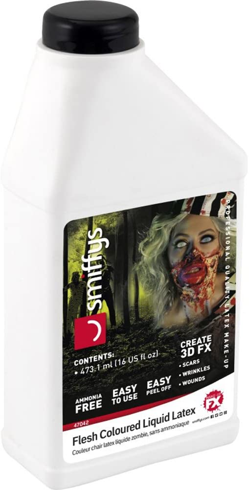 Smiffys-47042 Látex líquido look zombi, bajo en amoniaco, Piel, 473,17ml/16 US fl.oz, color carne, No es applicable (Smiffy's 47042) , color/modelo surtido