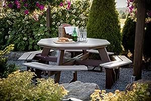 Mesa de picnic octogonal (Burdeos)