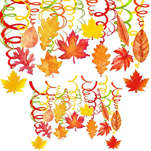 Fall Party Decorations (Supla 40 pcs Fall Autumn Hanging Swirl Decorations Party Swirls Hanging Swirl Streamers Foil Hanging Ceiling Décor with Assorted Fall Maple Oak Leaf Cutouts for Thanksgiving Spiral Party)