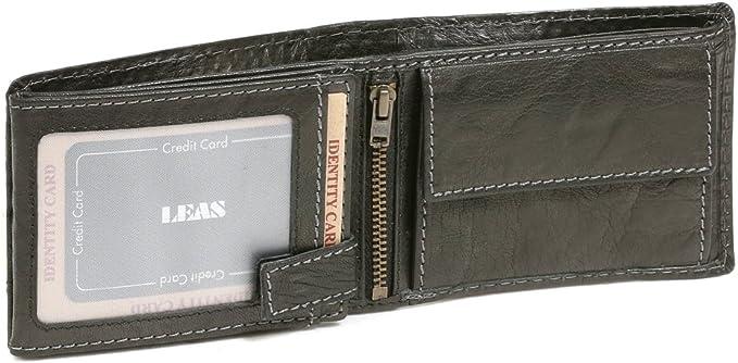 noir cuir v/éritable LEAS Special Edition Portefeuille pour serveur chauffeur de taxi LEAS