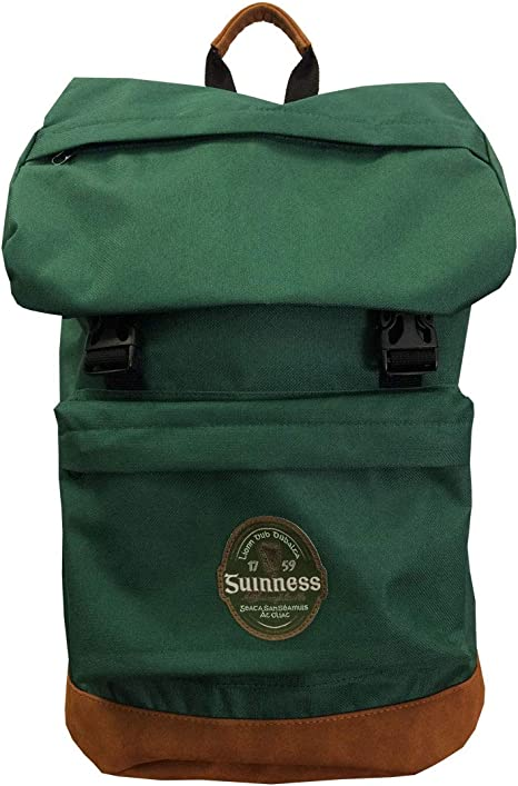 Official Guinness Bottle Green Ireland Label Backpack Designed With A Suede B...