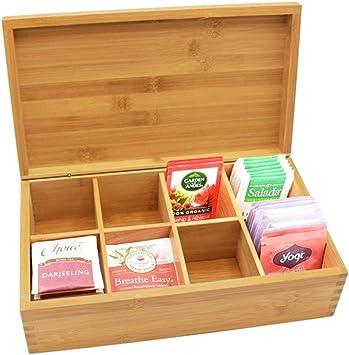 Ardentity - Caja para té de bambú con 8 compartimentos, caja para bolsas de té de madera con tapa de terciopelo, caja para guardar el aroma para un intenso disfrute del té: