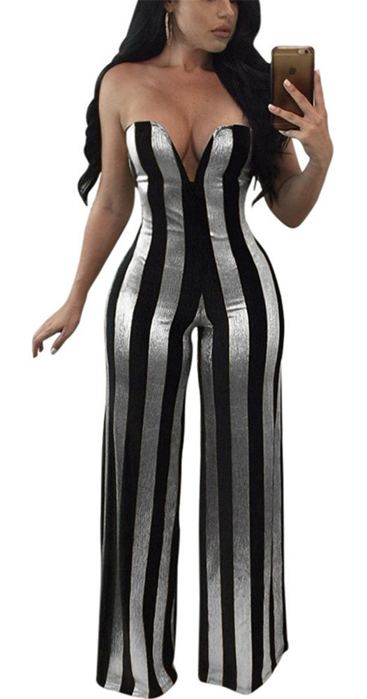 Speedle Womens Sexy Strapless Metallic Stripe Wide Leg Long Pants Club Jumpsuits Rompers Silver M