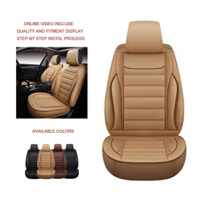 OASIS AUTO OS-005 Leather Car Seat Covers, Faux Leatherette Cushion Seat Cover for Cars SUV Small Pick Up Truck Universal Fit Set Compatible with Toyota-Nissan-Honda-Jeep-Subaru (TAN, Full Set): Automotive