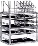 "Cq acrylic 8 Drawers and 16 Grid Makeup Organizer,9.5""x6.5""x11.8"",Clear 2 Piece Set"