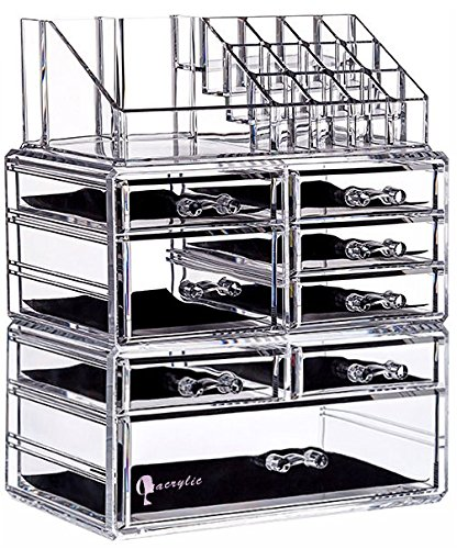 Cq acrylic 8 Drawers and 16 Grid Makeup Organizer,9.5