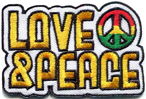 TNK - Love & Peace flag of Judah sign retro hippie applique iron-on patch
