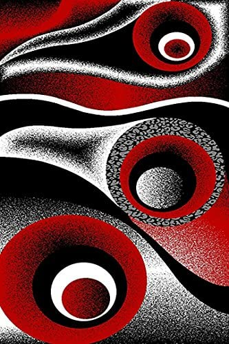 PlanetRugs Inc Premium 3D Effect Hand Carved Modern Abstract 5×8 5×7 Colorful Luxury Rug for Bedroom, Living Room, Dining Room Contemporary 1504 Red