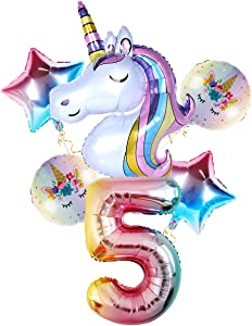 Staraise Unicorn Balloons for 5th Girl Birthday Party Decorations, 32 inch Number 5 Balloon Large Rainbow Unicorn Balloon for Unicorn Theme Baby Party Decor, Birthday Backdrop
