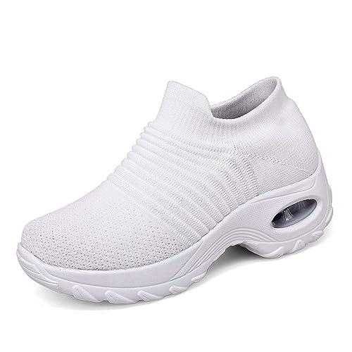 7a3cc06e3a8 Chaussure de Course pour Femme Baskets de Running Fitness Sport Air  Respirant Mesh Chaussette Femme Sneakers