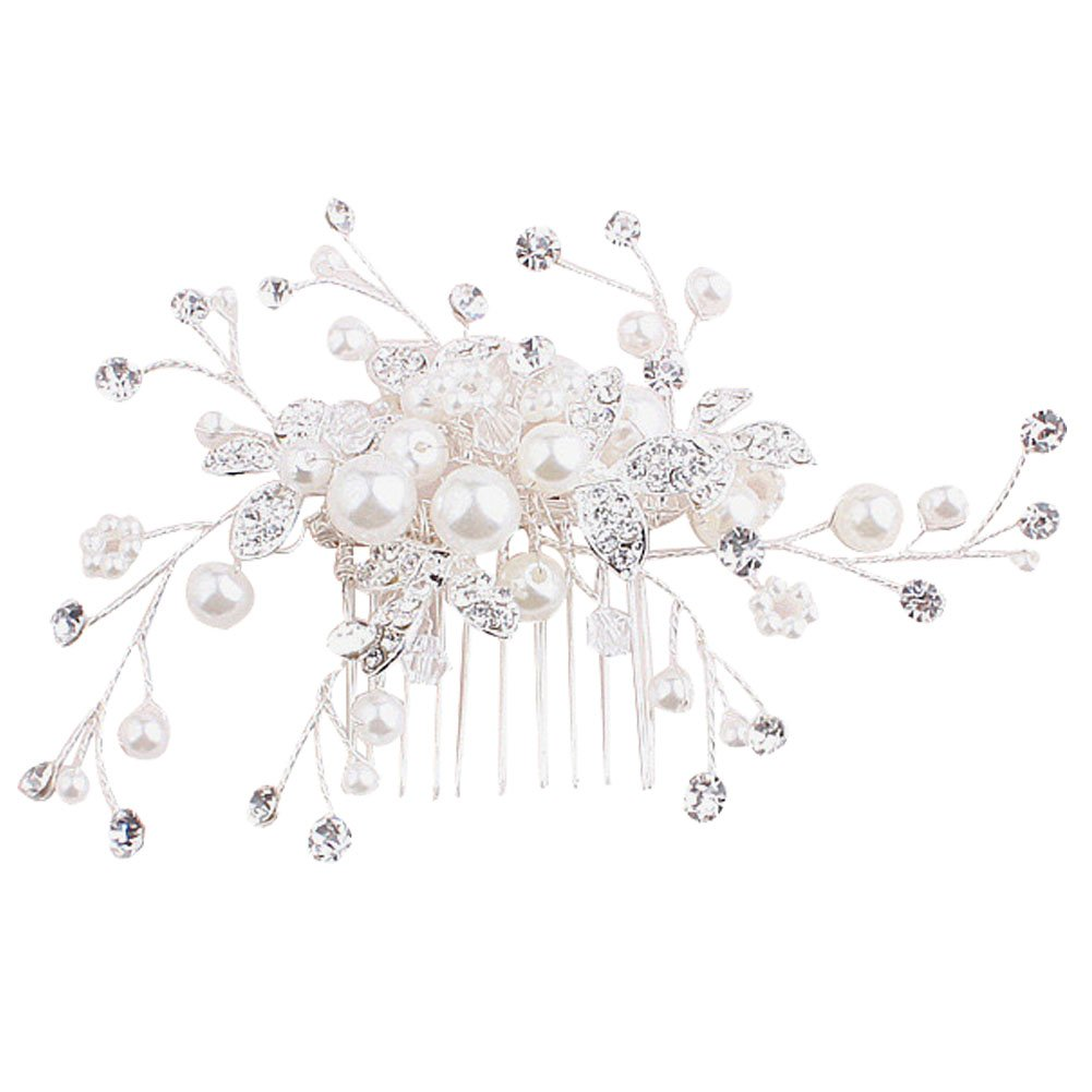 CHUANGLI Bridal Flower Side Hair Clips Pearl Bridal Headpiece Wedding accessories