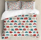 Cars Duvet Cover Set King Size by Ambesonne, Cheerful Baby Boy Play Things in Kids Doodle Style with Many Different Vehicles, Decorative 3 Piece Bedding Set with 2 Pillow Shams, Teal Scarlet Tan
